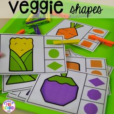 Veggie shape game Plus tons more Food and nutrition centers for preschool prek and kindergarten Reading writing math fine motor STEM and art Nutrition Education, Sport Nutrition, Nutrition Month, Kids Nutrition, Nutrition Guide, Nutrition Jobs, Nutrition Classes, Nutrition Store, Nutrition Tracker