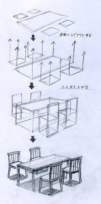 Furniture - tablet and chairs - how-to perspective Drawing Interior, Interior Design Sketches, Sketch Design, Design Art, Lamp Design, Drawing Sketches, Pencil Drawings, Art Drawings, Sketching