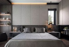 Appreciation of Tang Zhonghan's two major works Master Bedroom Interior, Modern Master Bedroom, Master Room, Modern Bedroom Design, Modern Room, Interior Concept, Interior Design, Bedhead Design, Minimal Bedroom