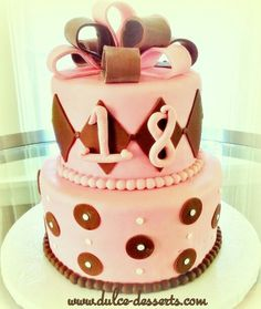 Pink and brown 18th birthday cake