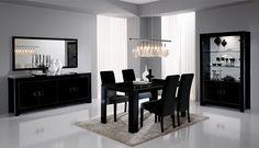 Salle à manger complète noir laqué design DARKA