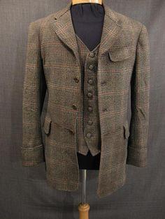 Suit 3 piece 1905 black wool plaid