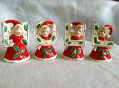 My Mom had this for years when I was a little kid.  I've tried to hold on to all the old family decos but these must have gotten broken or given away somewhere because I no longer have them. :(   Vintage NOEL Japan Christmas Girl Figurines x4 w Holly ~ Santa's Helpers Elves   eBay