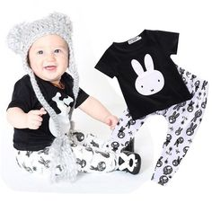 Rabbit Graphic T-shirt with Matching Pant Set (hat not included)