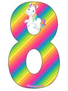 Birthday Letters, Birthday Numbers, 8th Birthday, Unicorns, Alphabet Letters Design, Unicorn Art, Party Needs, Letters And Numbers, Lettering Design