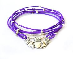 Irish Claddagh Sterling Silver Bracelet Purple by WristBliss  ***Special Christmas Shipping*** All US domestic orders received on 12/19 and 12/21 will be shipped USPS Priority Mail. Items will be shipped same day as ordered and be received within 1-3 business days!