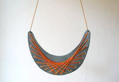 necklace leather  embroidered by StAnderswo on Etsy, €29.00