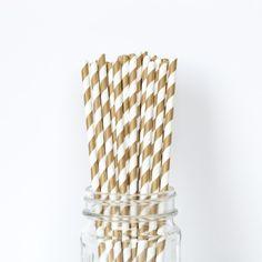 Gold Striped Straws