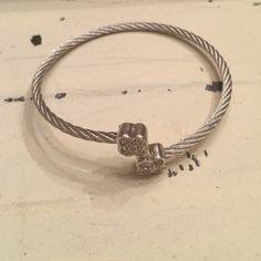 """Silver cable crystal stone wrap bracelet Silver cable crystal stone bracelet, 2 1/2"""" diameter. Racheal Grace  Jewelry Bracelets"""