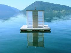 This floating sauna in Norway is anchored in the middle of a fjord with the winter sun coming in through transparent walls. Access to the sauna is by boat and users can descend into the fjord water for an icy dip through a hole in the floor. Finnish Sauna, World Photo, Boat Building, Gothic Architecture, Floating Architecture, Natural Architecture, Innovative Architecture, Most Beautiful Pictures, Barcelona