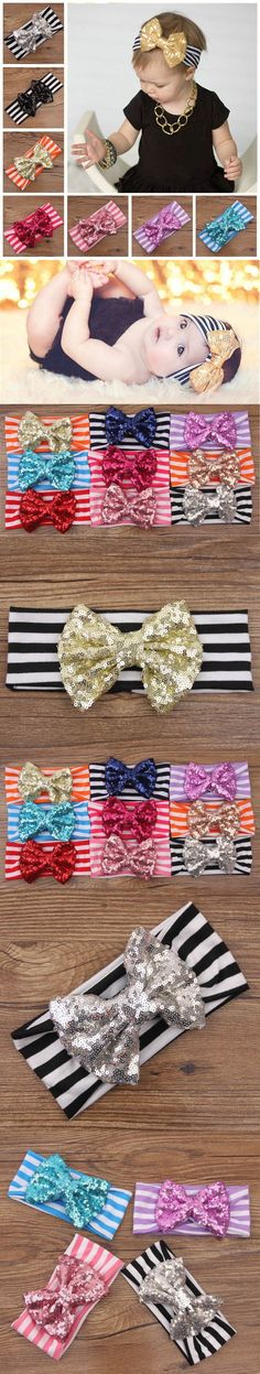 New Fashion baby headbands Hair band turban Big bow Baby Hair Accessories Sequined Bow Christmas Child Headband Jewelry