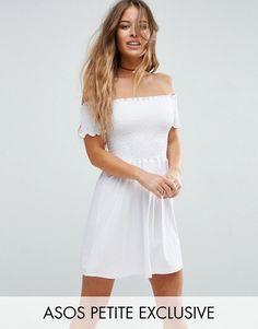 ASOS PETITE White Shirred Bandeau Mini Sundress