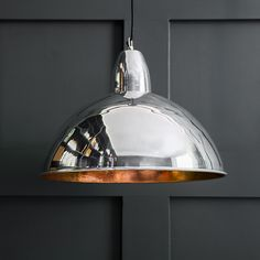 Contemporary Ceiling Pendant Light in Chrome and Copper