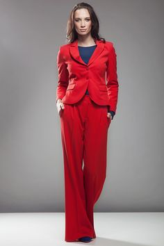 Look what I found on Red Trouser Pants Red Trousers, Trouser Pants, Pantalon Large, My Outfit, Duster Coat, That Look, Jumpsuit, Shorts, My Style