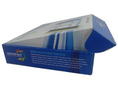 E flute corrugated box for the packaging of shoe cleaner kits