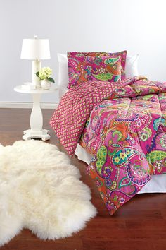 "Reversible Comforter Set in Pink Swirls | Pin your perfect space in our #MySuiteSetupSweepstakes!  How to enter: 1. Click through to fill out the form. 2. Follow @verabradley on Pinterest. 3. Create a board titled ""My Suite Setup Sweepstakes"" and start pinning with inspiration from our Inspiration board. Include #MySuiteSetupSweepstakes in the caption of each pin. http://sweeps.piqora.com/mysuitesetupsweepstakes"
