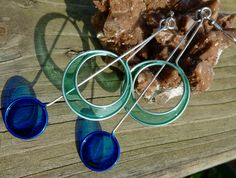 Stainless Steel Dangle Earrings in Cobalt Blue and Teal- Handmade Jewelry.