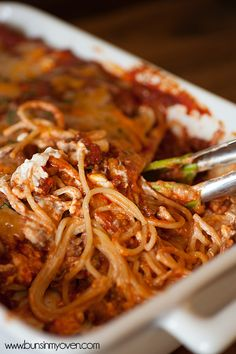 Creamy Baked Spaghetti I will trade out the cottage cheese for ricotta as neither my DH nor I like the texture of cottage cheese and will also trade the cheddar for mozzarella. But this sounds delish