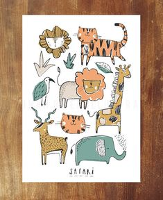 Safari illustrated wall art poster Nursery Bedroom Wall