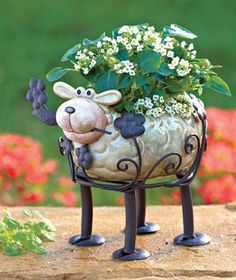 Ceramic and Metal Animal Planters Sheep