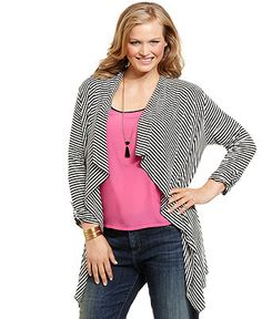 Cha Cha Vente Plus Size Cardigan, Long-Sleeve Striped Open Front - Plus Size Tops - Plus Sizes - Macy's