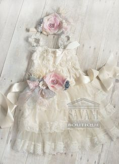 FLOWER GIRL DRESS set 3 pcs wedding flower girl by SAVANIboutique