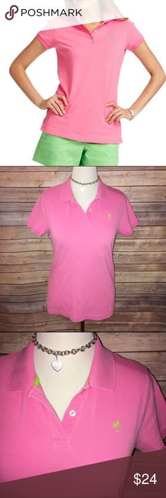 Lilly Pulitzer Pink Polo w/Lime Palm Tree Super bright and adorable! 100% Pima Cotton, very nice quality with some stretch. Looser, comfy resort fit. Excellent quality and condition. Check out my other listings to bundle and save 25% 😎! Lilly Pulitzer Tops