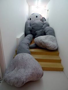 """Florentijn Hofman is currently showing at Galerie West his latest project """"Dushi"""" which is a series of extremely oversized stuffed animals """"where the change of… Giant Stuffed Animals, Stuffed Animal Monkey, Big Pillows, Ghost In The Machine, Pet Pigs, Textiles, Plushies, Softies, Bean Bag Chair"""