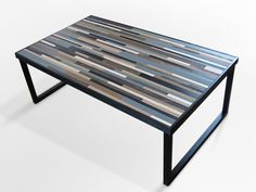 Reclaimed Wood Table, Modern Industrial Wood Coffee Table With Square Metal Legs…