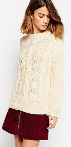 Asos - Ganni Long Sleeve Cable Knit Sweater