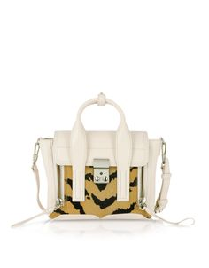 3.1 Phillip Lim Cream Leather and Haircalf Pashli Mini Satchel at FORZIERI