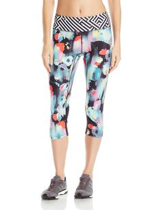 ASICS Womens Printed Capri Inkblot Floral XSmall * Check out this great product. (This is an affiliate link) #YogaPantsCollection