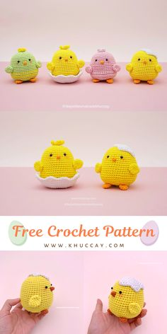 Easter Chick Amigurumi Pattern, Free Crochet Tutorial by Khuc cay Hi there, I am here to bring you a new free chick amigurumi pattern for Easter 2020 Easter Bunny Crochet Pattern, Crochet Amigurumi Free Patterns, Crochet Animal Patterns, Crochet Dolls, Crochet For Easter, Crochet Rabbit Free Pattern, Kawaii Crochet, Cute Crochet, Crochet Crafts