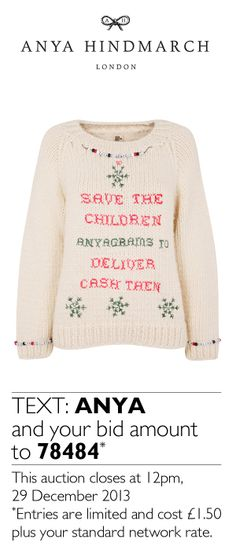 Here's Anya Hindmarch's luxury Christmas sweater, designed especially for our #xmasjumperday auction for you to bid on! #AnyaHindmarch