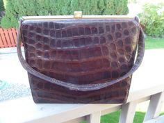 Vintage Alligator Purse Metal Frame Handbag