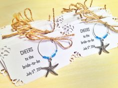 Starfish wine charm favors, perfect for beach themed event for wedding favors, bridal shower favors, birthday party favors. https://www.etsy.com/listing/224080837/55-to-75-starfish-personalized-wine