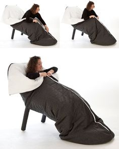 Somewhere between seat and sleeping bag, this might be the most comfortable chair ever created - or at least a cozy one for those of us who periodically like to fall asleep while sitting or lounging. Les M took the form of a lounge chair, added the soft warmth of a duvet and completed the design ...
