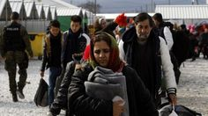 Migrants at reception centre in Macedonia