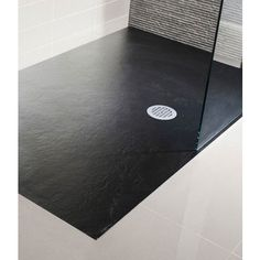Simpsons - Black Low Profile Textured Slate Effect Rectangular Shower Tray with Waste - 5 Size opti £356