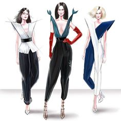 Fashion Design Sketchbook, Fashion Design Drawings, Fashion Sketches, Clothes Design Drawing, Infinity Dress Styles, Fashion Illustration Poses, Fashion Art, Fashion Show, Geometric Fashion