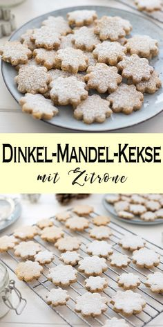 Dinkel-Mandel-Kekse mit Zitrone Not only at Christmas, but then especially I recommend this simple cookie recipe for spelled and almond biscuits with lemon. Easy Biscuit Recipe, Easy Cookie Recipes, Chip Cookie Recipe, Chip Cookies, Healthy Christmas Cookies, Christmas Recipes, Biscuits, Gateaux Cake, Lemon Cookies