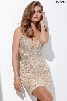This #jovani 27621 beaded v neck dress is a must have for prom 2016.