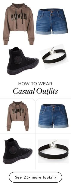 """Untitled #6"" by jay-love12 on Polyvore featuring LE3NO, Converse and Express"