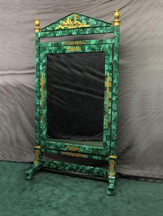 "Gilt Bronze Mounted Napoleon III Malachite Dressing Mirror Ca1880 France. 83""H x 46""W x 21""D."