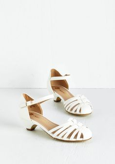 Strappy as Can Be Heel in Ivory. You couldnt be happier now that youve found a pair of shoes as adorable as these ivory heels! #cream #wedding #modcloth