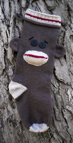 sock monkey pattern Christmas stocking