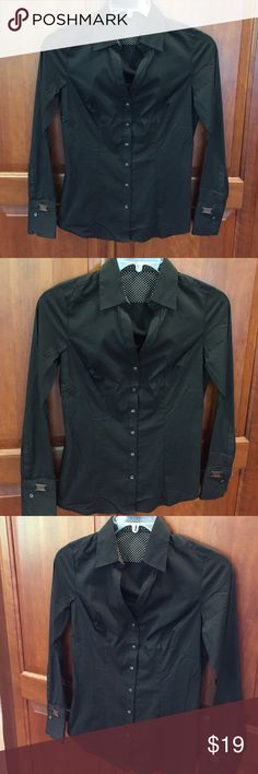 Brand New Express Black Button Down Suit Blouse Brand new and never worn, this black button down suit blouse from Express features silver hardware with the Express logo. No trade or bargaining; this suit blouse is brand new. Express Tops Button Down Shirts