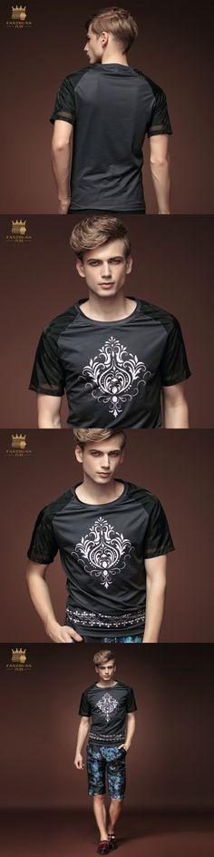 Free Shipping Korean Summer men's fashion casual short sleeved summer 2015 Black T-shirt 15621 flowers On Sale