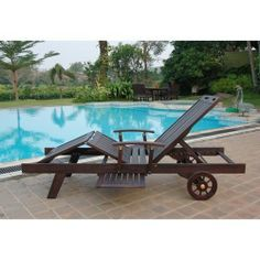 Wood Slat Chaise Lounger Chair Outdoor Patio Deck Lawn Furniture Brown Reclining #delahey