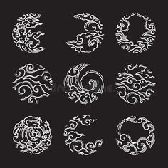 Illustration about Oriental cloud in round shape frame icon. A tradional style of Japanese, Thai, Chinese line art. Moon shape design on black background. Illustration of asian, illustration, line - 142535446 Japanese Quilt Patterns, Chinese Patterns, Japanese Quilts, Japanese Drawings, Japanese Artwork, Japanese Waves, Japanese Flowers, Japanese Cloud Tattoo, Cloud Tattoo Design